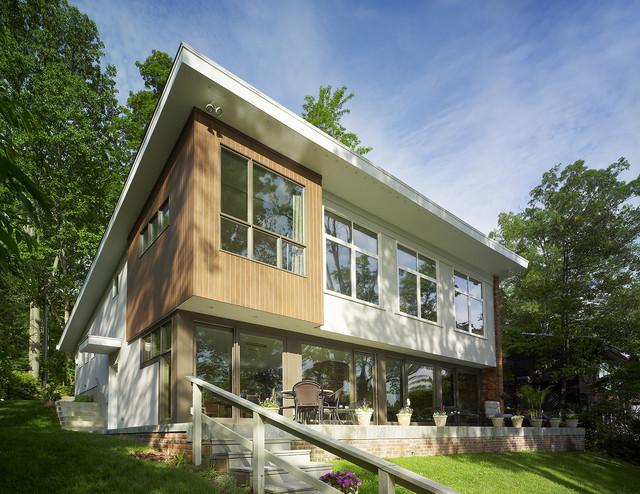 Mid Century Modern Lake House modern-exterior