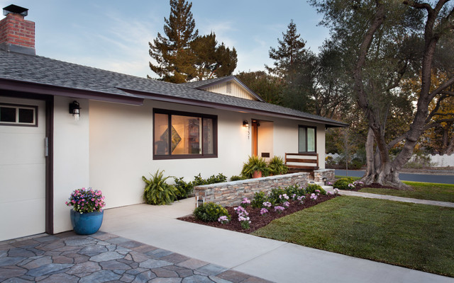 1970 Ranch Home Remodel Transitional Exterior