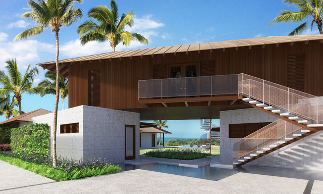 Midcentury modern tropical for Modern tropical house exterior