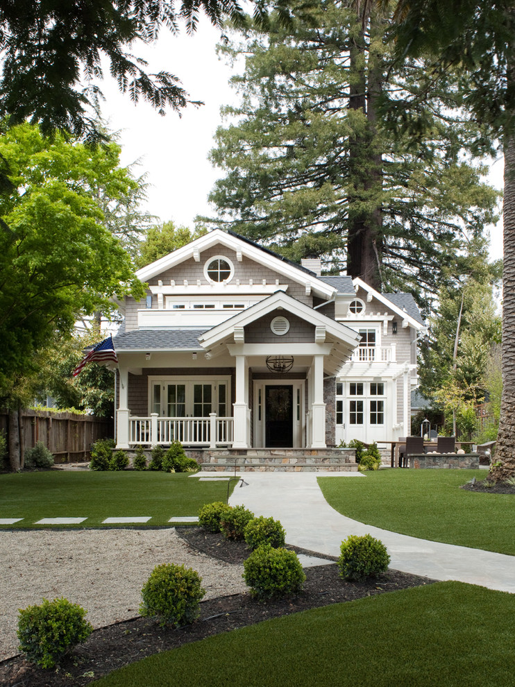 Inspiration for a timeless gray two-story wood exterior home remodel in San Francisco