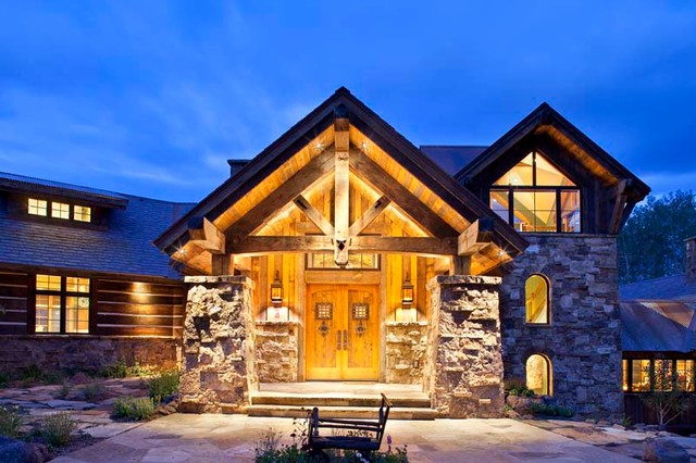 mine style rustic mountain lodge rustic exterior denver by copper creek homes llc. Black Bedroom Furniture Sets. Home Design Ideas