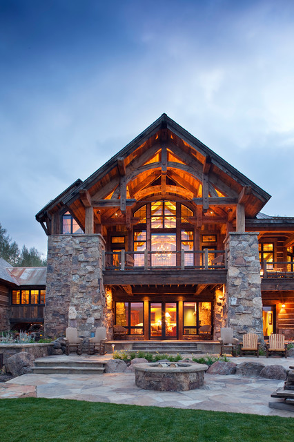 Mine Style Rustic Mountain Lodge - Rustic - Exterior - other metro - by Copper Creek Homes, LLC
