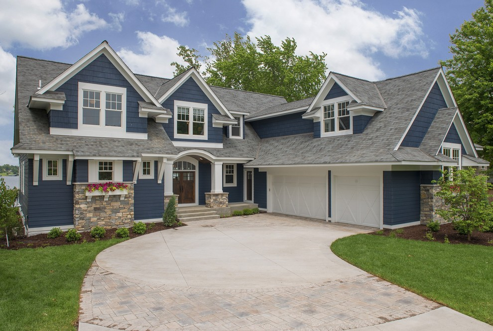 Huge transitional blue three-story concrete fiberboard exterior home photo in Minneapolis