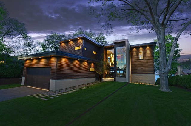 exterior recessed lights in soffit. example of a trendy brown exterior home design in minneapolis recessed lights soffit