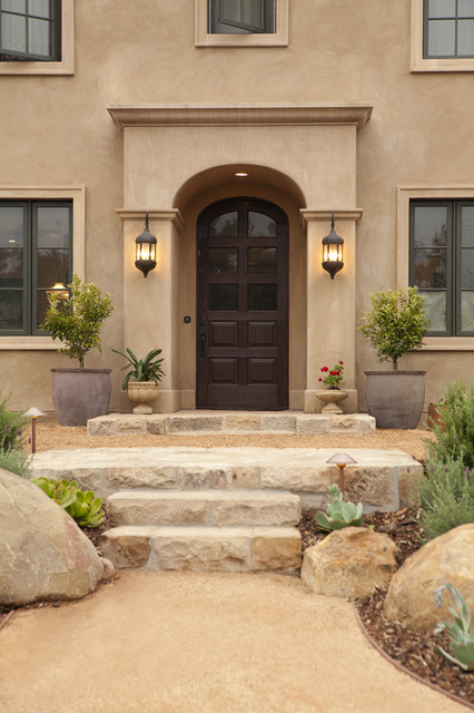 Mission canyon tuscan villa exterior mediterranean for Mission stucco