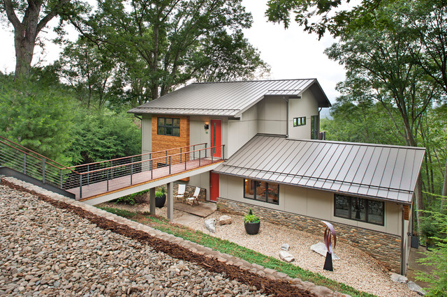 Modern addition to 60's Ranch House - Modern - Exterior ... on