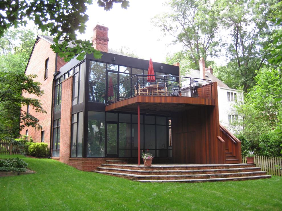 Contemporary brick exterior home idea in DC Metro