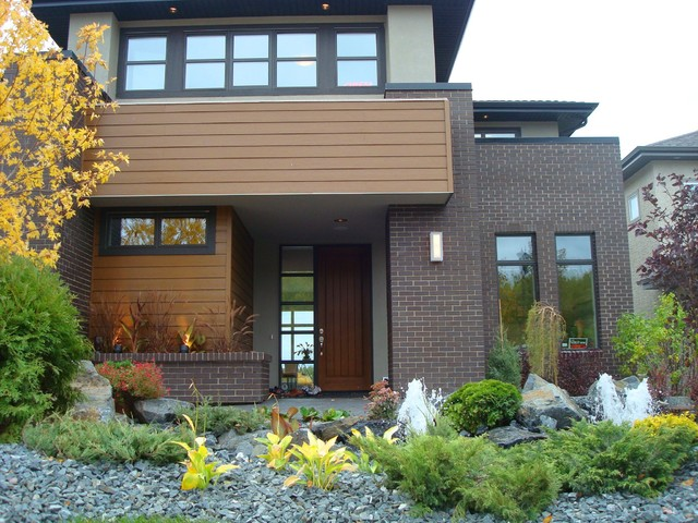 Modern brick home modern exterior edmonton by cast for Modern home decor edmonton