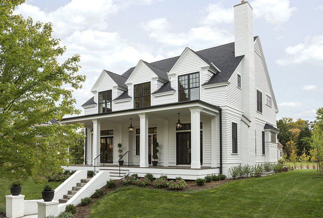 Modern Colonial Four Square Transitional Exterior  : transitional exterior from www.houzz.com size 640 x 432 jpeg 127kB