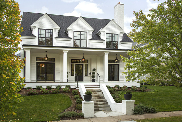 Modern colonial four square transitional exterior for Modern colonial home exterior