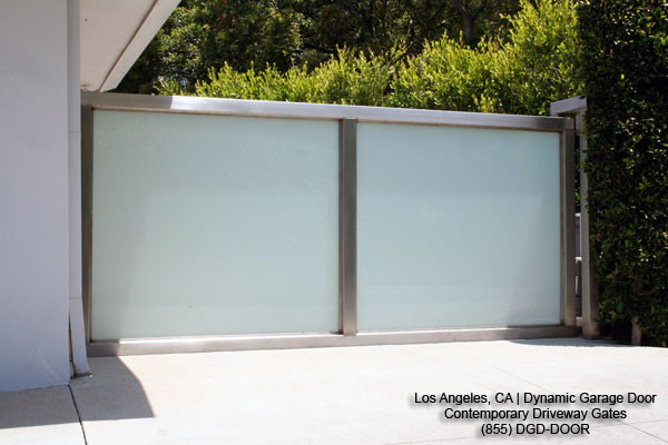 Modern Courtyard Gates In Stainless Steel Frosted Glass