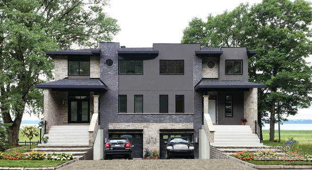 Modern duplex builder cutsom home design by drummond for Contemporary duplex plans