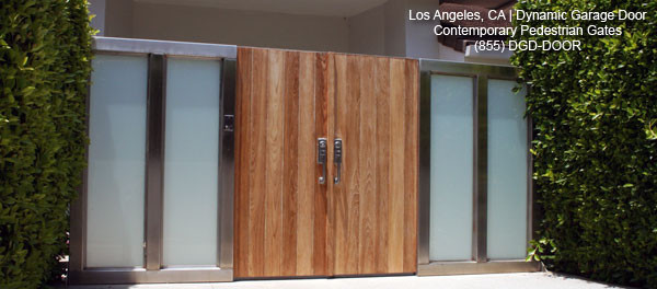 Modern Entry Gates in Solid Wood & Stainless Steel Side Lites ...
