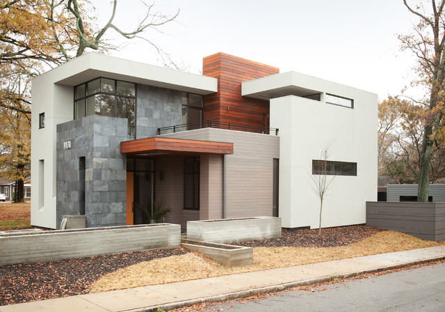 Modern Exterior Home modern home exteriors best 25 modern home exteriors ideas on pinterest Mid Sized Minimalist Two Story Mixed Siding Exterior Home Photo In Atlanta
