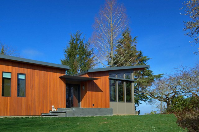 two story sustainable prefab modern wood warm modular cool cedar clean minimal modern exterior