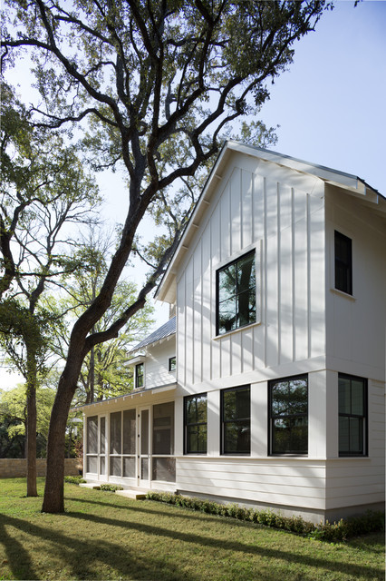 Modern farm house farmhouse exterior austin by tim for Farmhouse exterior paint colors