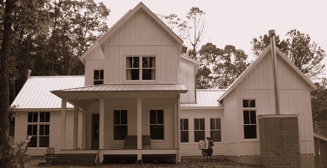 Modern farmhouse in rural georgia modern exterior for Modern farmhouse house plans