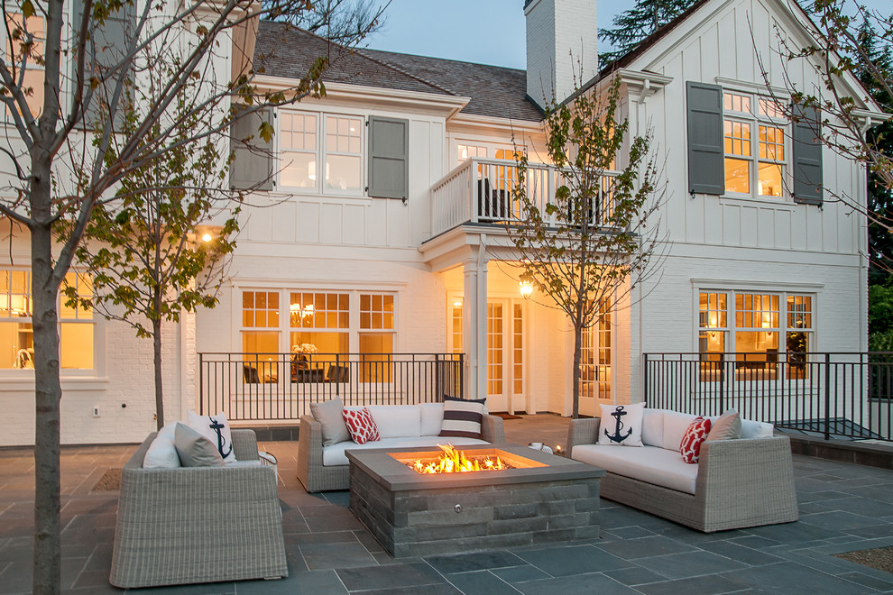 Cottage white two-story wood exterior home idea in San Francisco
