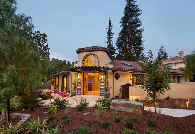 Modern Hacienda Home with California Native Landscaping contemporary-exterior