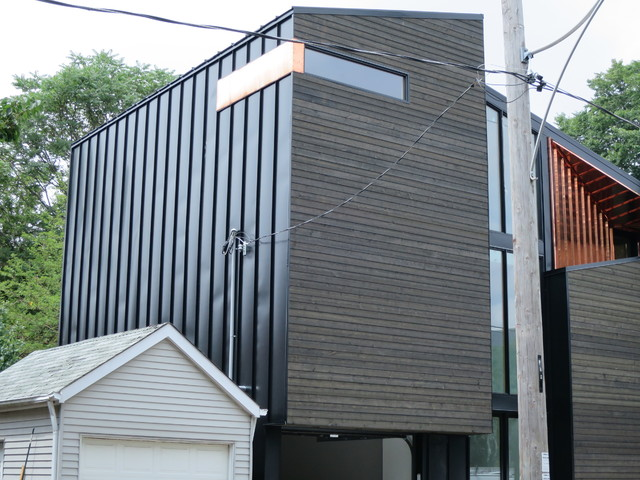 Modern home exterior metal siding wood siding copper for Metal wood siding