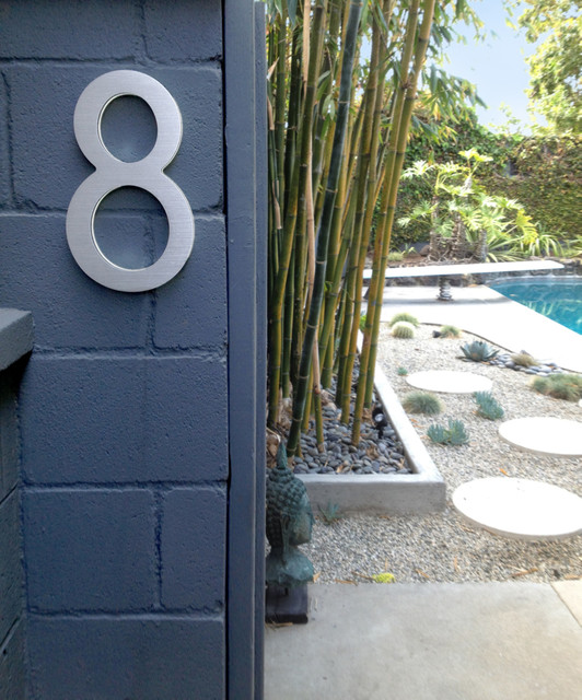 Modern House Entrance with Backlit Numbers Modern Exterior