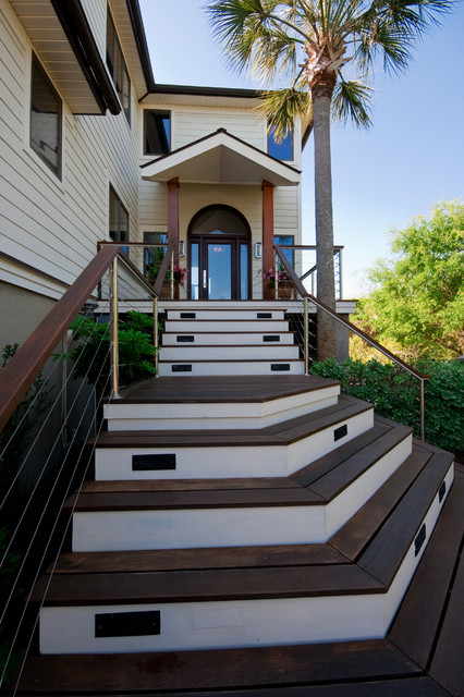 Building Front Elevation Staircase : Modern island beach home front stair tropical exterior