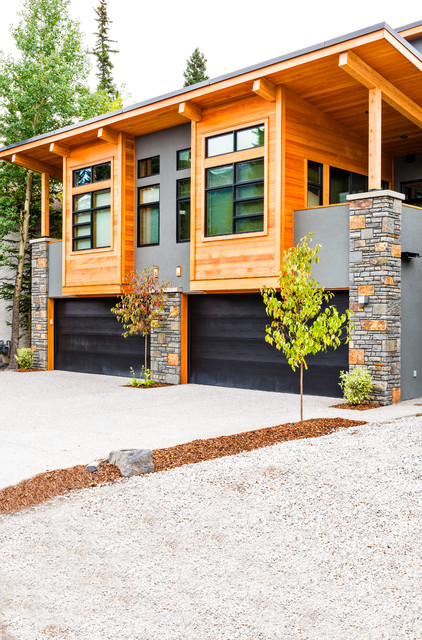 modern mountain duplex rustic exterior calgary by