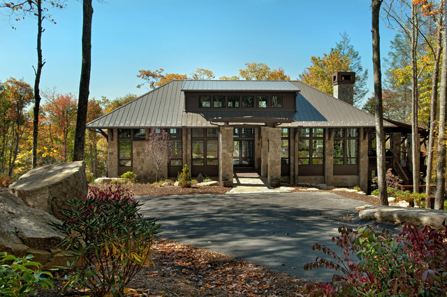 Modern mountain home rustic exterior charlotte by for Modern rustic home plans