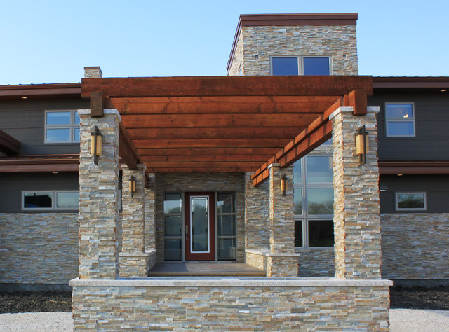 Modern Natural Wood And Stone Pergola Front Entryway