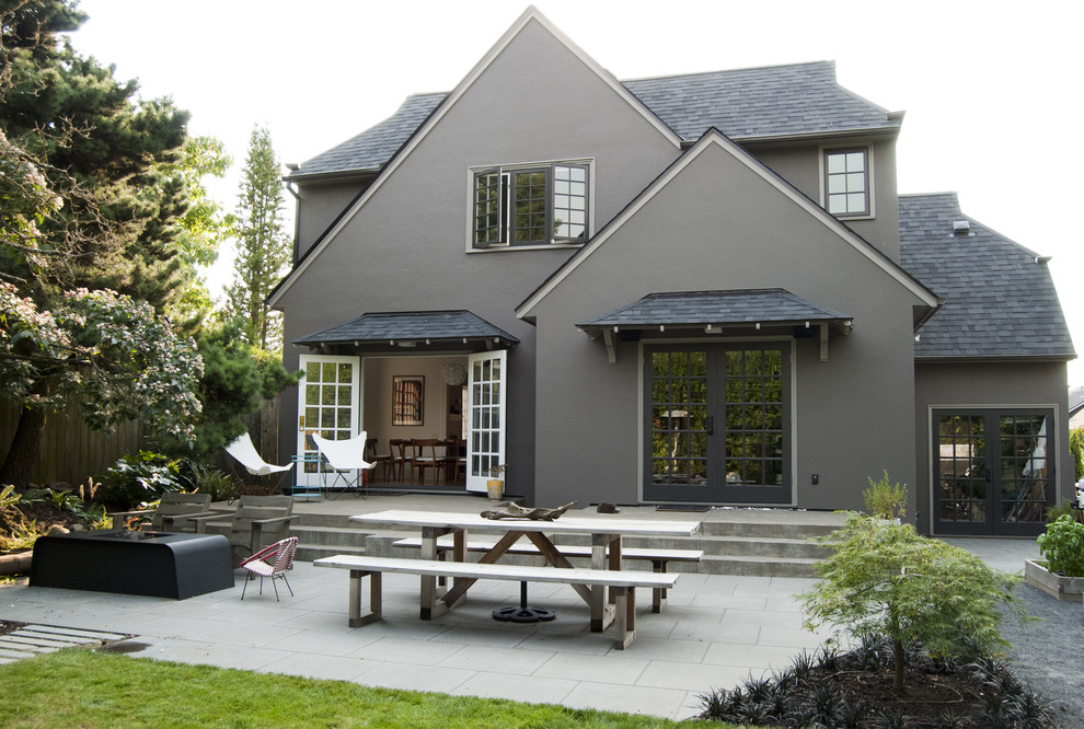 Inspiration for a timeless two-story exterior home remodel in Portland