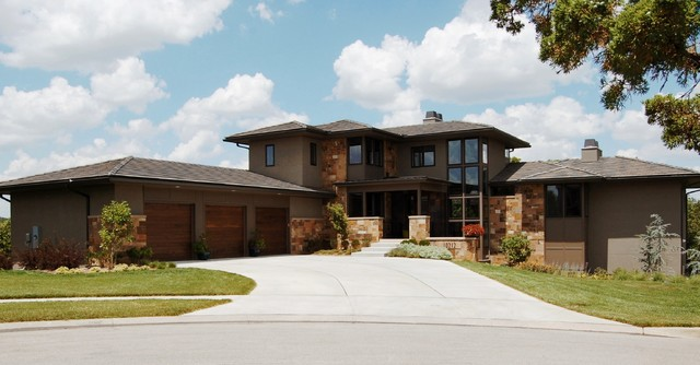 Modern prairie style house front elevation for Contemporary prairie style homes