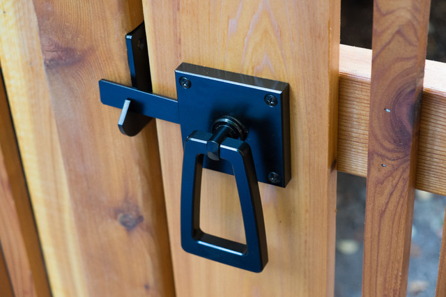Nice Modern Ring Gate Latch With Tapered Handle In Stainless Steel With Black  Powder Contemporary Exterior