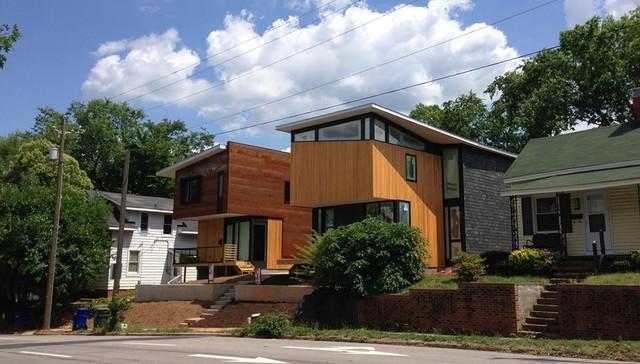 Modern urban infill houses in an old neighborhood modern for Modern homes raleigh