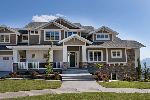Ex&le of a classic exterior home design in Salt Lake City & Modified Telluride by Candlelight Homes - Traditional - Exterior ...