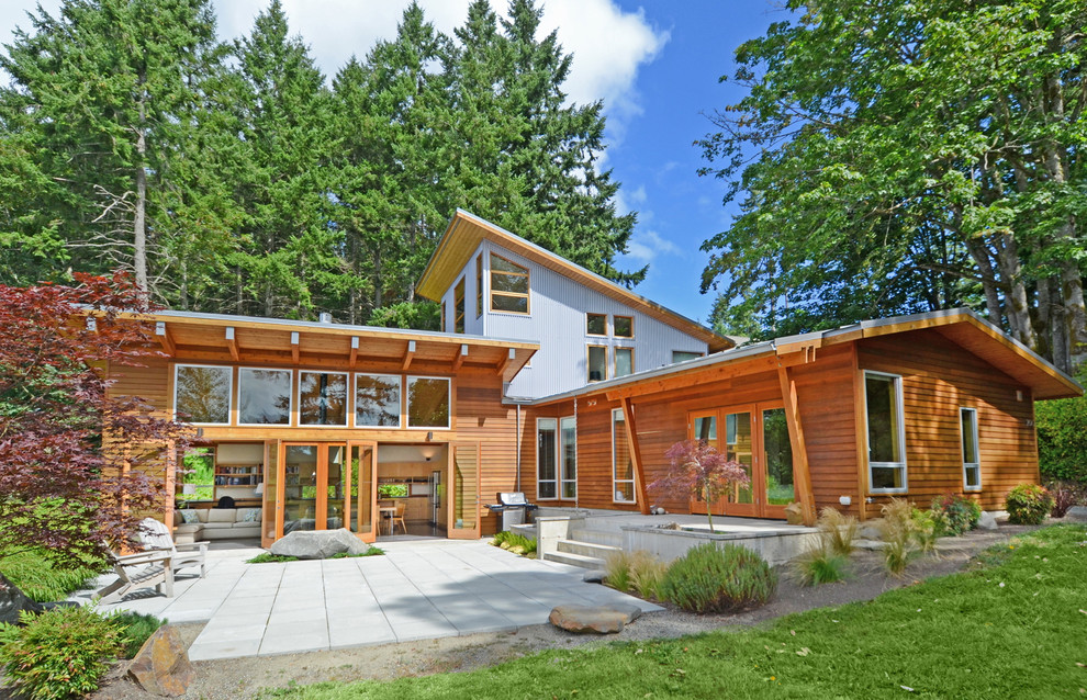 Trendy metal exterior home photo in Seattle