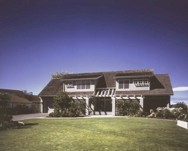 View from yard. traditional-exterior