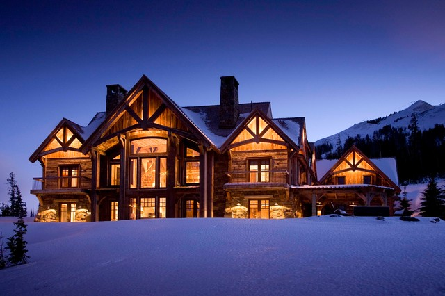 Montana Ski House Rustic Exterior New York By