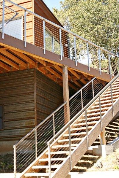 Moody rear deck stairs for Exterior steps design