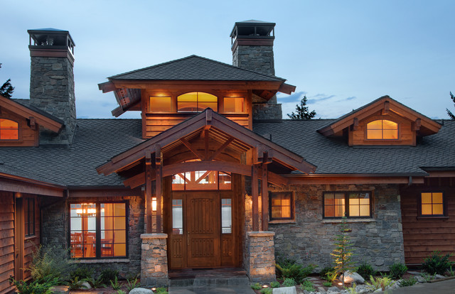 Mountain lake home entry asian exterior boise by for Craftsman style homes for sale in boise idaho