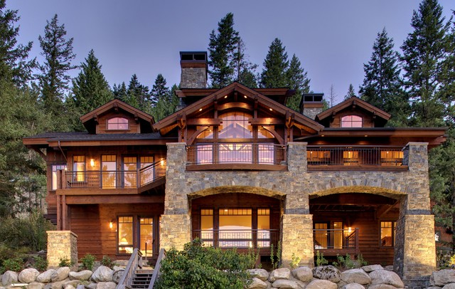 Mountain Lake Home - North side facing lake traditional-exterior