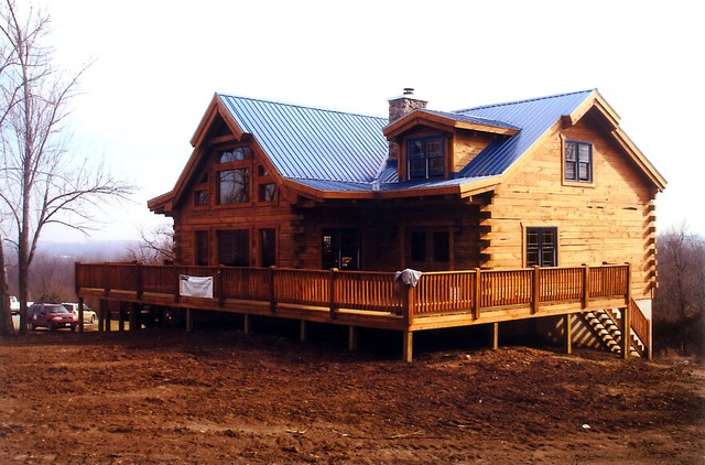 Mountain view log home kit traditional exterior for Mountain home kits