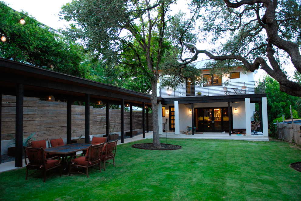 Inspiration for a contemporary two-story exterior home remodel in Austin