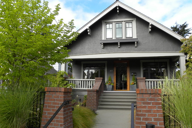 craftsman gray two story gable roof idea in seattle