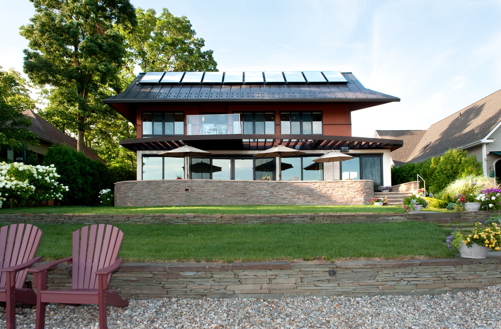 Inspiration for a contemporary two-story exterior home remodel in Boston