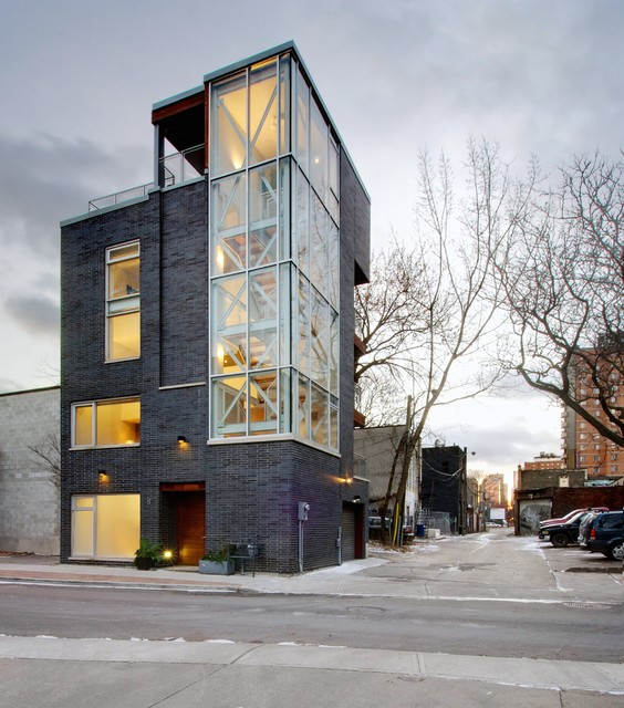 My houzz urban tower industrial exterior toronto for Small house design houzz