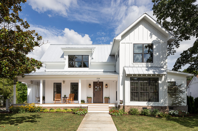 excellent exterior house design. Example of a mid sized country white two story wood gable roof design in Top 20 Farmhouse Exterior Home Ideas  Remodeling Pictures Houzz