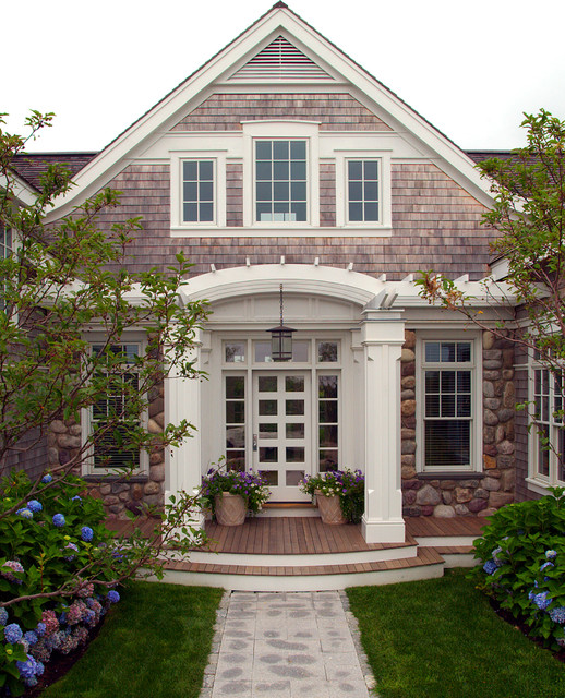 Nantucket residence front entry beach style exterior Portico on cape cod house