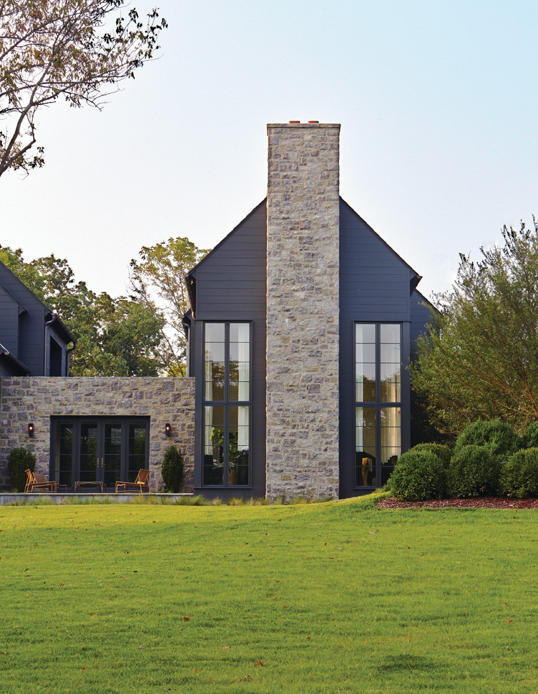 Transitional gray two-story mixed siding gable roof idea in Nashville