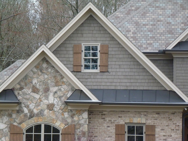Natural Stone, Shake, Shutters, Metal Roofing Craftsman Exterior