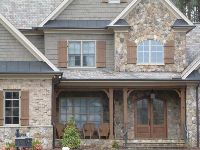 Natural Stone Shake Shutters Metal Roofing Craftsman Exterior Raleig